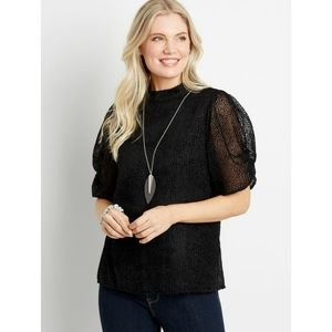 Maurices Velet Dot Mock Neck Puff Sleeve Top